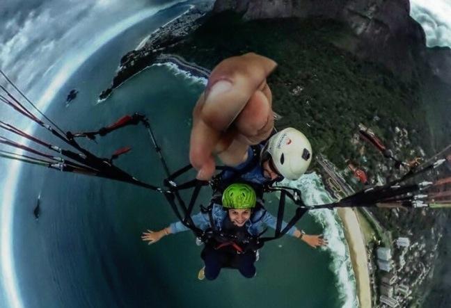 Hang gliding in Rio de Janeiro, Brazil. Tandem flight in Sao Conrado